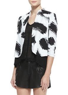 Alice + Olivia York Brush-Print Cropped Crepe Jacket