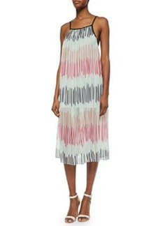 Alice + Olivia Zuri Square-Neck Pleated Midi Dress, Multicolor