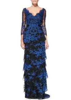 Alyssa Tiered Contrast Lace Gown   Alyssa Tiered Contrast Lace Gown