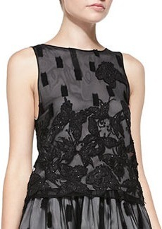 Anna Embroidered Mesh Boat-Neck Top   Anna Embroidered Mesh Boat-Neck Top