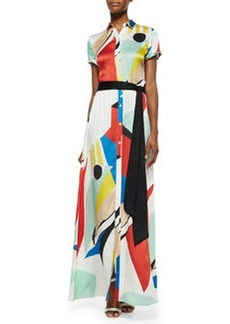 Arlen Graphic-Print Maxi Shirtdress, Multicolor   Arlen Graphic-Print Maxi Shirtdress, Multicolor