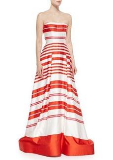 Aubrey Striped Strapless Ballgown, Orange/White   Aubrey Striped Strapless Ballgown, Orange/White