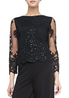 Ava Sheer-Sleeve Embroidered Sequined Top   Ava Sheer-Sleeve Embroidered Sequined Top