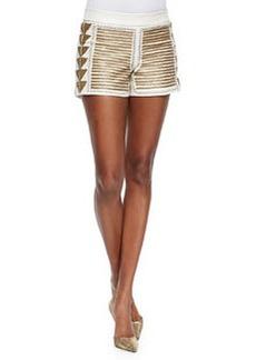 Beaded Back-Zip Leather Shorts   Beaded Back-Zip Leather Shorts