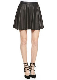 Blaise Leather Trapeze Skirt with Lace Hem   Blaise Leather Trapeze Skirt with Lace Hem