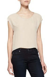 Cap-Sleeve Top with Cutout Back   Cap-Sleeve Top with Cutout Back