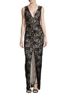 Caragen Lace Gown W/ Center Slit   Caragen Lace Gown W/ Center Slit