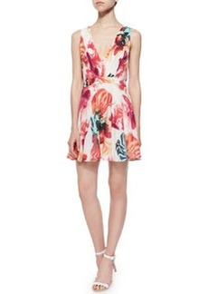 Alice + Olivia Cayden Gathered V-Neck Floral Dress, Multicolor