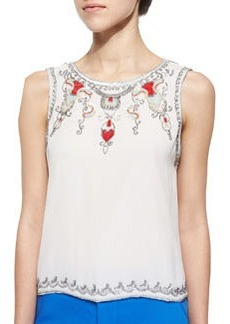 Cecille Beaded Sequined Silk Top   Cecille Beaded Sequined Silk Top