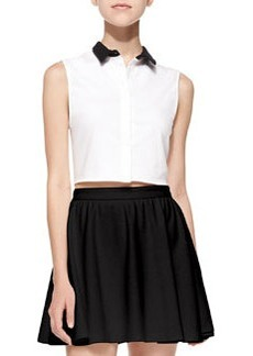 Contrast-Collar Cropped Sleeveless Blouse   Contrast-Collar Cropped Sleeveless Blouse