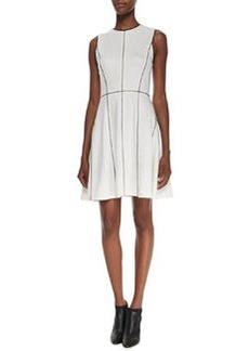 Contrast-Trim Flared-Skirt Dress   Contrast-Trim Flared-Skirt Dress