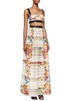 Dian Leather-Trim Cutout Maxi Dress   Dian Leather-Trim Cutout Maxi Dress