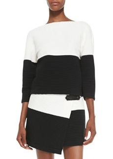 Dory Knit Two-Tone Drop-Shoulder Top   Dory Knit Two-Tone Drop-Shoulder Top