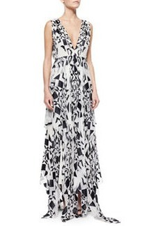Alice + Olivia Esmay Printed V-Neck Maxi Dress