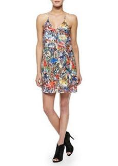 Fierra Menagerie-Print Y-Back Dress   Fierra Menagerie-Print Y-Back Dress
