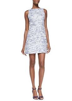 Gen Sleeveless Mesh-Back Tweed Dress   Gen Sleeveless Mesh-Back Tweed Dress