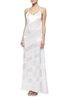 Gene Sheer/Satin Diagonal-Stripe Maxi Dress   Gene Sheer/Satin Diagonal-Stripe Maxi Dress