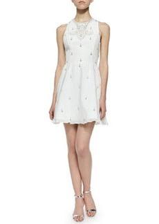 Gilda Embellished Lace-Back Dress, Off White   Gilda Embellished Lace-Back Dress, Off White