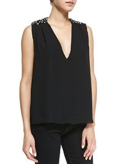 Harper Beaded-Shoulder V-Neck Top   Harper Beaded-Shoulder V-Neck Top