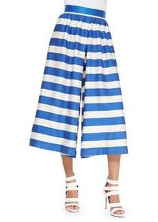 High-Waist Striped Pleated Culottes   High-Waist Striped Pleated Culottes