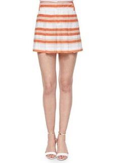 High-Waist Striped Pleated Shorts   High-Waist Striped Pleated Shorts