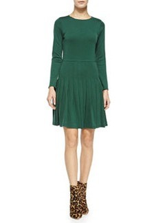 Hue Long-Sleeve Dress W/ Pleated Skirt   Hue Long-Sleeve Dress W/ Pleated Skirt