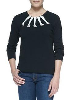 Intarsia Legs Design Crewneck Sweater   Intarsia Legs Design Crewneck Sweater
