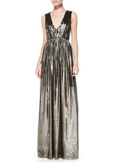 Issa Pleated V-Neck Metallic Gown   Issa Pleated V-Neck Metallic Gown