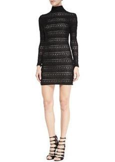 Jerica Pattern-Stripe Mock-Neck Dress   Jerica Pattern-Stripe Mock-Neck Dress