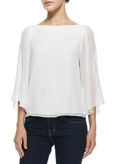 Josie Bell-Sleeve Silk Top   Josie Bell-Sleeve Silk Top