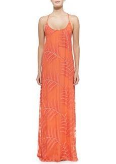 Kelly Palm-Print Chiffon Maxi Dress   Kelly Palm-Print Chiffon Maxi Dress