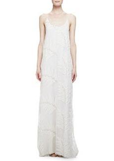 Kelly Palm-Print T-Back Dress, Cream   Kelly Palm-Print T-Back Dress, Cream