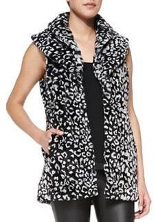 Kelsi Leopard-Print Faux-Fur Long Vest   Kelsi Leopard-Print Faux-Fur Long Vest