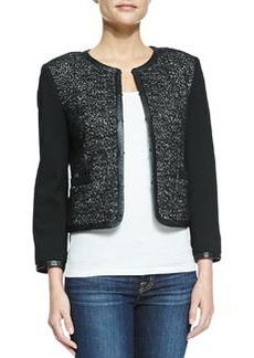 Kidman Leather-Trim Glittered Jacket   Kidman Leather-Trim Glittered Jacket