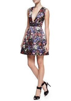 Kiro Deep-V Floral-Print Dress   Kiro Deep-V Floral-Print Dress