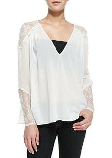 Lace-Inset V-Neck Tunic   Lace-Inset V-Neck Tunic