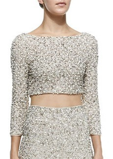 Lacey Beaded Sequined Crop Top   Lacey Beaded Sequined Crop Top