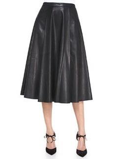 Leather Center-Pleat Skirt   Leather Center-Pleat Skirt