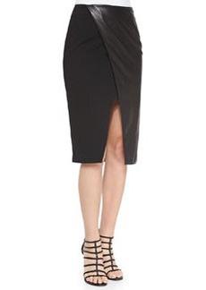 Leather/Ponte Wrap Pencil Skirt   Leather/Ponte Wrap Pencil Skirt