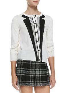 Long-Sleeve Knit Tuxedo Cardigan   Long-Sleeve Knit Tuxedo Cardigan