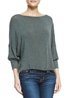 Long-Sleeve Top with Leather Back Strap   Long-Sleeve Top with Leather Back Strap