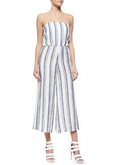 Alice + Olivia Lucie Striped Strapless Wide-Leg Linen Jumpsuit