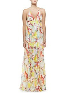 McBain Printed Silk Halter Dress   McBain Printed Silk Halter Dress
