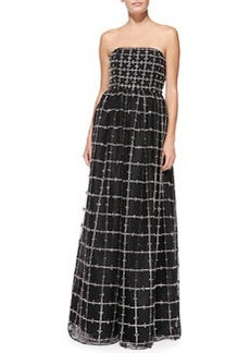 Milly Strapless Beaded Windowpane-Pattern Ball Gown   Milly Strapless Beaded Windowpane-Pattern Ball Gown