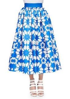 Molina Floral-Print Tea-Length Ball Skirt   Molina Floral-Print Tea-Length Ball Skirt
