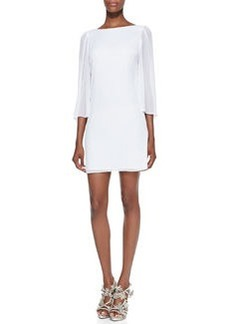 Odette Sheer-Sleeve Fitted Dress   Odette Sheer-Sleeve Fitted Dress