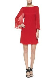 Odette Sheer-Sleeve Fitted Dress, Red   Odette Sheer-Sleeve Fitted Dress, Red