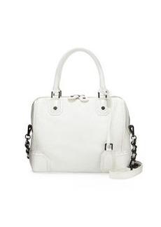 Olivia Pebbled/Patent Satchel Bag, White   Olivia Pebbled/Patent Satchel Bag, White