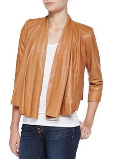 Open-Front Draped Leather Jacket   Open-Front Draped Leather Jacket