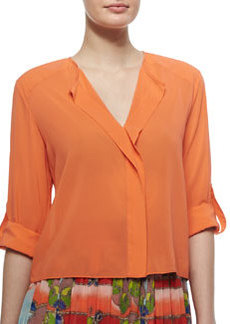 Open-Placket Stretch-Silk Blouse   Open-Placket Stretch-Silk Blouse
